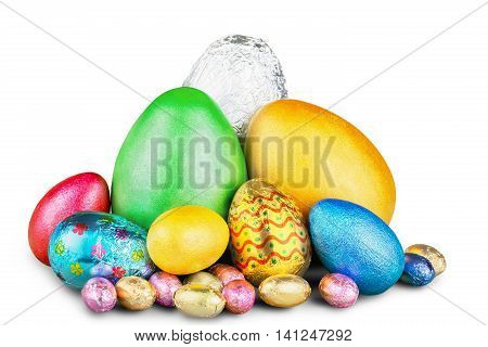 Group of colorful candy Easter eggs wrapped in foil with bow