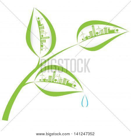 green city in leaf and warte rdrop
