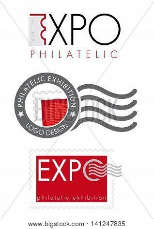Philatelic Exhibition logo design on white background