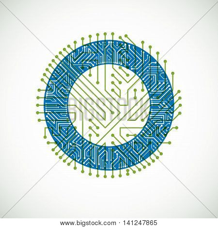 Vector Circuit Board Circle, Digital Technologies Abstraction. Green And Blue Computer Microprocesso