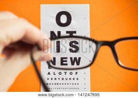 Snellen Chart Test Seen through Eye Glasses