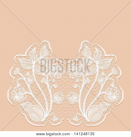 Template greeting or invitation card with with lace flowers. Pink background. Vector illustration.