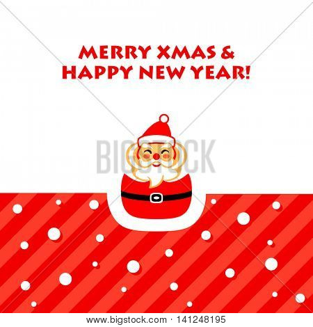 New Year card with happy Santa Claus