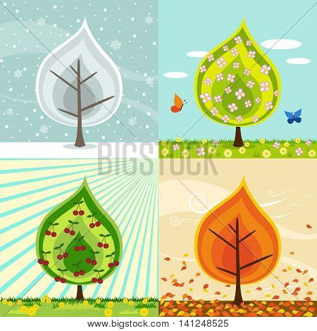 Four different compositions of a cherry tree in four seasons. ( winterspring summer fall autumn )