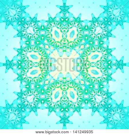 Abstract geometric seamless background. Delicate ellipses ornament light yellow, green, turquoise and light blue, centered and dreamy.