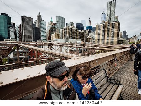 People On Brooklyn Bridge