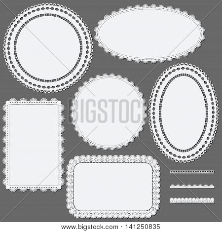 Set of lace frames napkins and ribbons. Vector illustration.