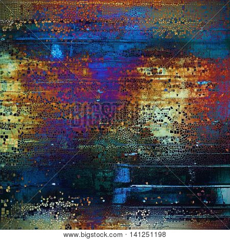 Grunge texture, scratched surface or vintage background. With different color patterns: yellow (beige); brown; green; blue; red (orange); purple (violet)