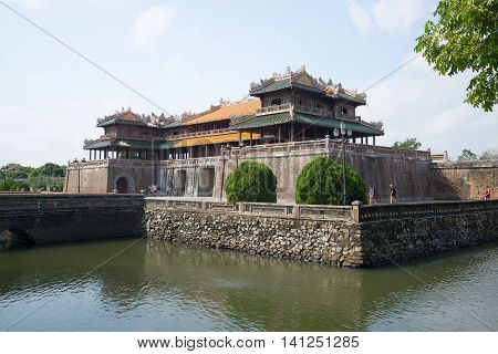 HUE, VIETNAM - JANUARY 07, 2016: View of the Meridian gate of the cloud by day. Historical landmark of the city Hue, Vietnam