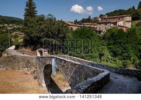 Garfagnana Tuscany Italy - San Michele Medieval bridge Piazza al Serchio Lucca