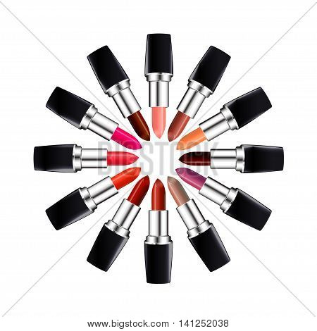 Circle of open tube of lipstick. Lipstick of different colors laid out in a circle. Isolated on white. Vector illustration.