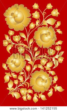 Russian national pattern style khokhloma. Floral ornament golden flowers and leaves on a red background. Vector illustration.