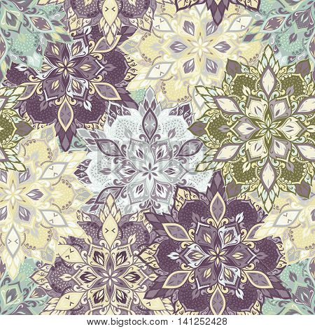 Boho style flower seamless pattern. Tiled mandala design, best for print fabric or papper and more.