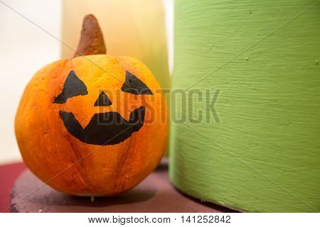 Halloween pumpkin head jack lantern for background