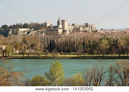 Historic Avignon on Provence and Rhone river