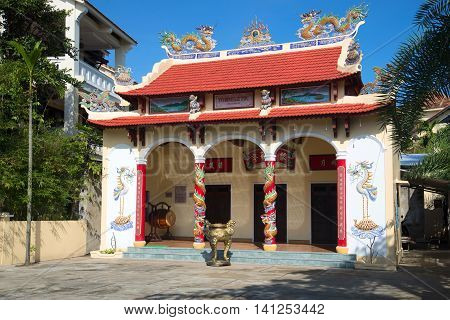 HOI AN, VIETNAM - JANUARY 04, 2016: A small Buddhist temple.  Religious landmark  of the city Hoi An. Vietnam