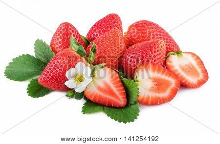 organic strawberries with leaf and flower on white background