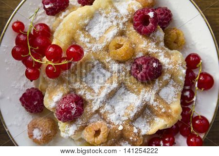 soft waffles with fresh berries, dusted with powdered sugar