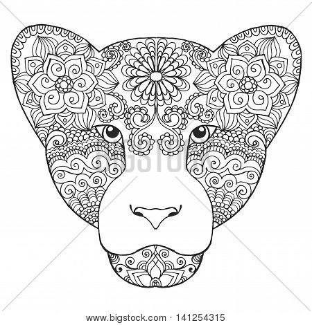 Black white hand drawn doodle animal. Ethnic patterned vector illustration. Sketch for coloring page tattoo poster print t-shirt