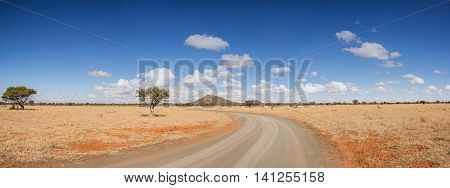 A dirt track stretches to the horizon in the Northern Cape South Africa