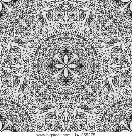 Black and white seamless lace background. Pattern of lacy napkins in a primitive style. Vector illustration.