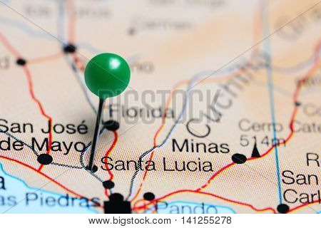 Santa Lucia pinned on a map of Uruguay