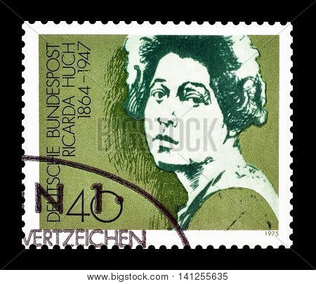 GERMANY- CIRCA 1975 : Cancelled postage stamp printed by Germany, that shows Ricarda Huch.