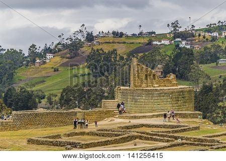 INGAPIRCA, ECUADOR, NOVEMBER - 2015 - Ingapirca a touristic location in which is located an ancient inca temple located in Azuay province Ecuador