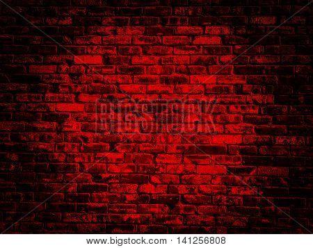 old black red vintage brick wall texture background with darker vignette