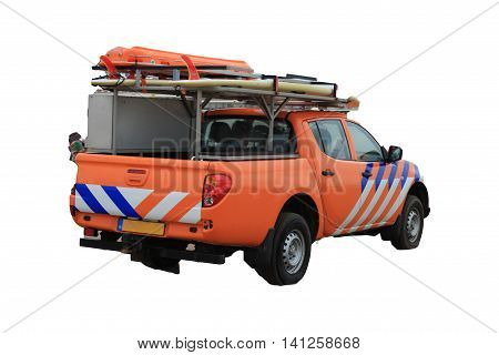 Beach Patrol car - Lifeguard on beach and white background.