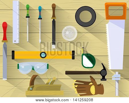 Table craftsman or builder. Banner or flyer template with chisel screwdriver chisel glasses seals ruler nails tape measure saw file rasp insulating tape. Vector