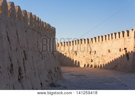 City walls of the ancient city of Khiva in Uzbekistan.