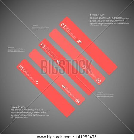 Rhombus Illustration Template Consists Of Five Red Parts On Dark Background