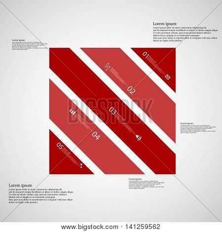 Square Illustration Template Consists Of Five Red Parts On Light Background