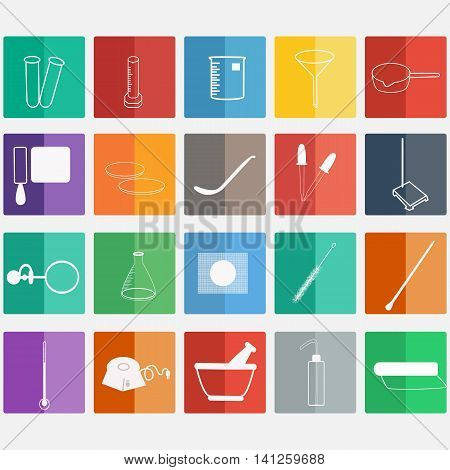 Science lab Vector Icon SetChemical Laboratory chemical glassware.