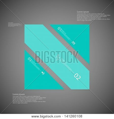 Square Illustration Template Consists Of Three Blue Parts On Dark Background