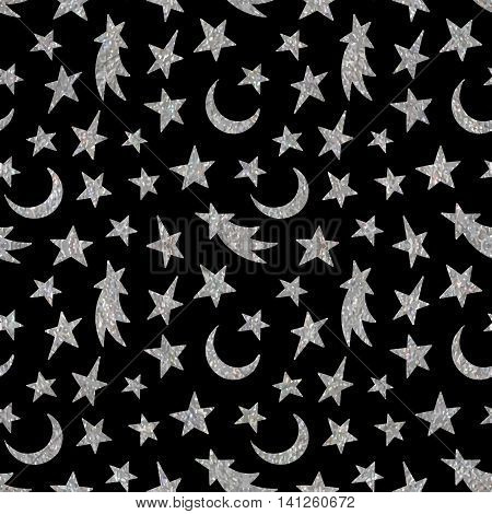 Silver textured cosmic seamless pattern of the star, moon and comet on black background. Design element for background, textile, paper packaging, wrapping paper and other. Vector illustration.
