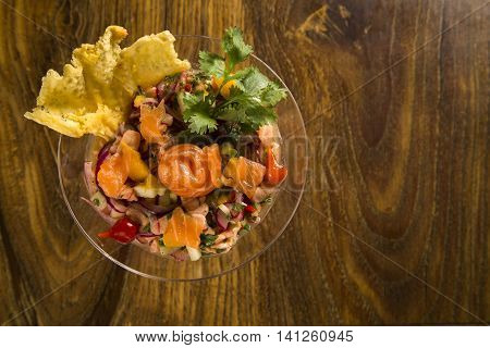 Mixed Fish Ceviche With Salmon, Onion And Pepper. Traditional Peruvian Dish.