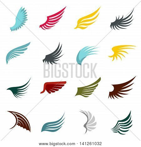 Flat wing icons set. Universal wing icons to use for web and mobile UI, set of basic wing elements isolated vector illustration