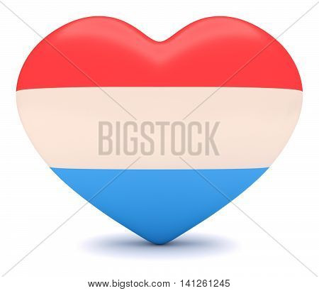Love Luxembourg: Luxembourgian Flag Heart 3d illustration