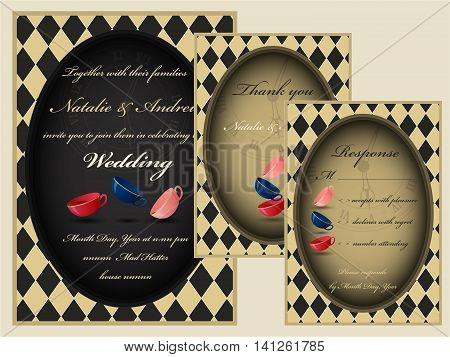 Alice in Wonderland. Mad tea party wedding invitation set. RSVP. Thank you card.