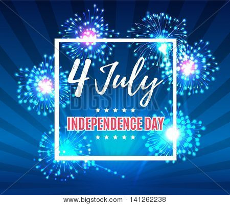 Independence Day 4 Th July. Happy Independence Day Of Usa With Fireworks , Fourth Of July . Vector I