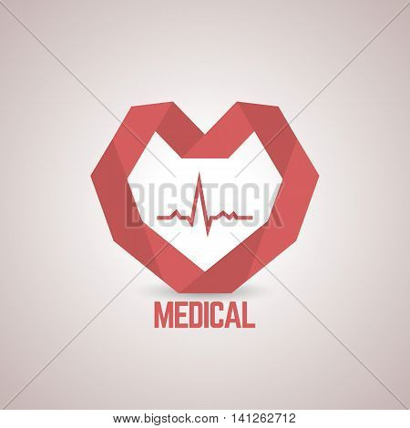 Logo design template with a red paper heart to the medical center pharmaceutical companies health centers medical companies vector illustration.