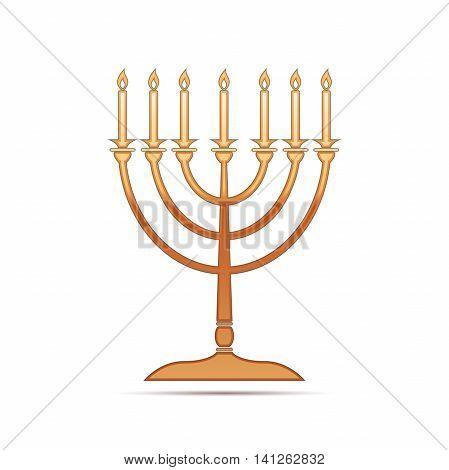 Gold Hanukkah menorah icon on white background. Vector Illustration