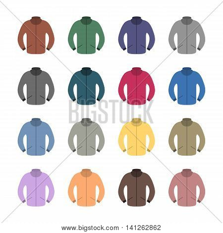 Set of sixteen tracksuits in a flat style isolated on white background design element outerwear vector illustration.