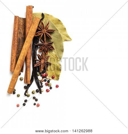 Various spices on white