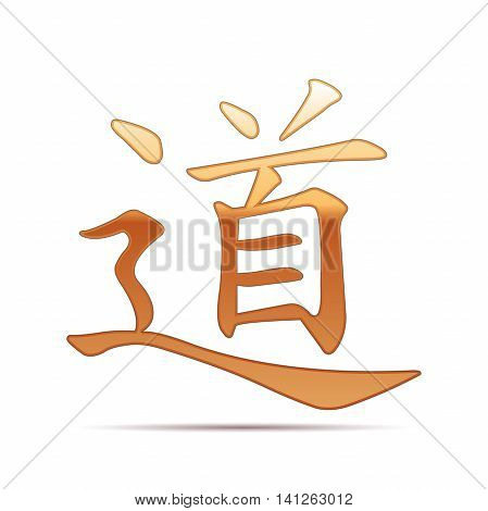 Gold chinese calligraphy, translation meaning Dao, Tao, Taoism icon on white background. Vector Illustration