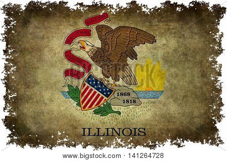 Illinois state flag with distressed worn textures and edges