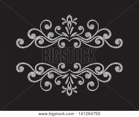 Elegant luxury vintage silver floral hand drawn decorative border or frame on black background. Refined vignette element for banner, invitation, menu, postcard, greeting card. Vector illustration.