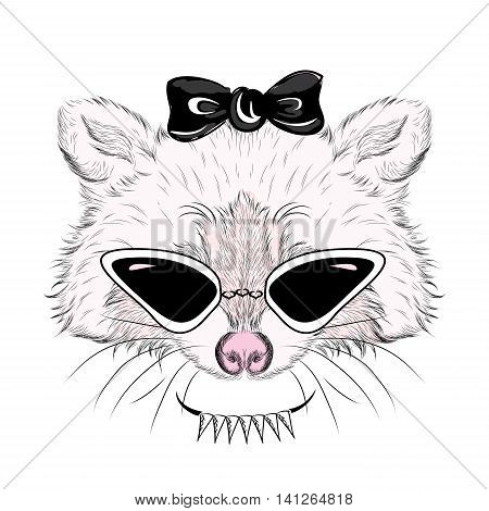 Raccoon in sunglasses and with a bow.